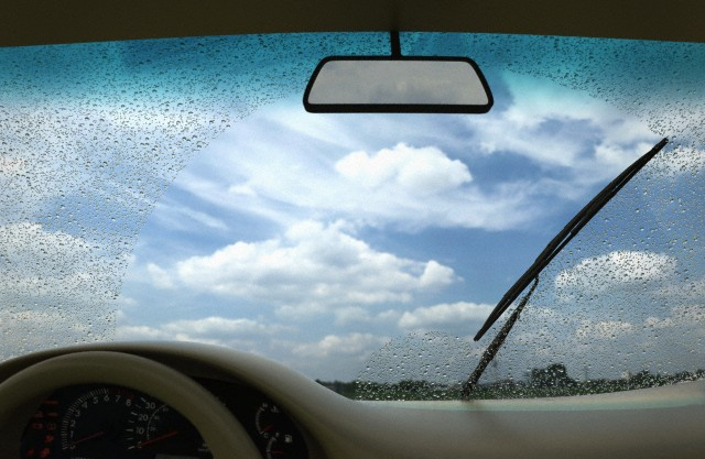 Wipers cleaning windscreen