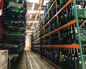 A view of The AGS warehouse showcasing a variety auto glass replacements