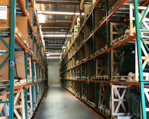 A view of The AGS warehouse featuring a selection of auto glass for multiple car makes and models